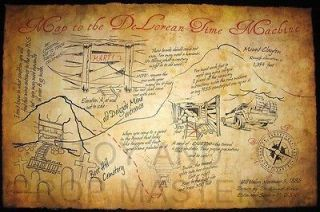Doc Brown Back to the Future DeLorean Map Prop to Marty Mcfly 1885