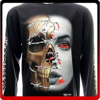 rc43 M L XL XXL XXXL Rock Eagle Long Sleeve LS T shirt Tattoo Skull