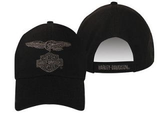 Harley Davidson Mens Eagle Eye Black Hat Baseball Cap Ballcap Velcro