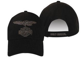 Harley Davidson Mens Eagle Eye Black Hat Baseball Cap Ballcap Velcro