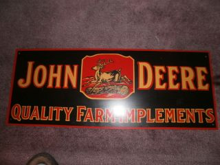 Vintage John Deere Tin Sign QUALITY FARM IMPLEMENTS 26 x 10 inch