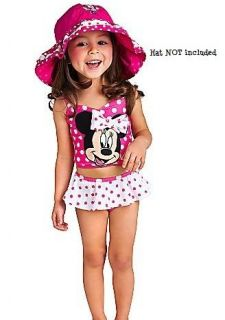 NEW Disney Minnie Mouse 3D Bow Pink & White Polka Dot 2pc Skirted