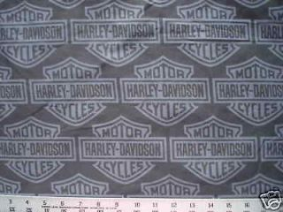 Biker Black HARLEY DAVIDSON Motorcycle Logo Quilt Fabric 72x35