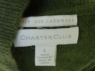 CHARTER CLUB olive green 100% cashmere cowl neck sweater WL