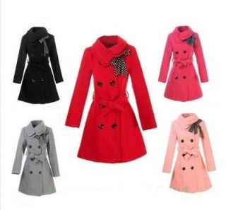 Womens Woolen Warm Winter Long Coat Jacket Trench Slim Fit Fashion