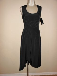 Adrianna Papell Black Dip Hem Scoop Neck Cocktail Dress 6 NWT
