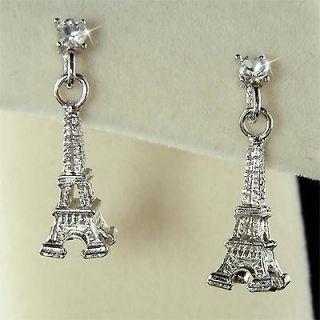 Paris Eiffel Tower w Swarovski Austrian Crystal Post Earrings Xmas New