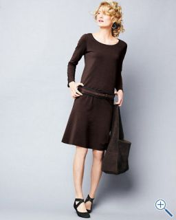 Eileen Fisher Organic Cotton Long Sleeves Black Stretch Jersey Dress