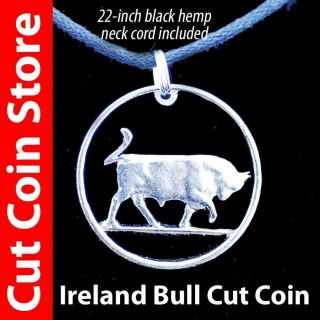Ireland bull cut out coin Pendant Necklace Irish One Shilling Eire