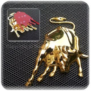 NEW FIGHTING BULL TORO GOLD Metal Chrome Die Cast Zinc Alloy Badge 3D