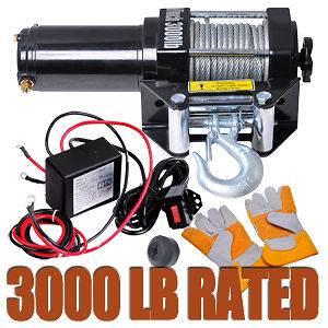 3000Lb ATV Electric Recovery Winch Kit UTV Trailer Truck Car 12V