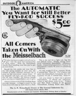 Vintage Ad Meisselbach No. 660 Autofly Fly Fishing Reels Elyria,Ohio