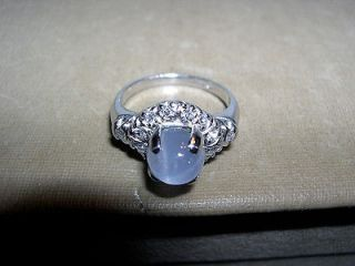 Platinum~Natural Blue Star Sapphire~Diamond Cocktail Ring ~2.5CTS