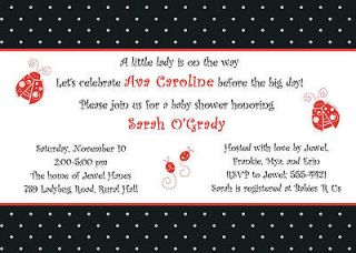 Personalized Baby Girl Shower Invitation ~ Little Ladybug Lady Bug