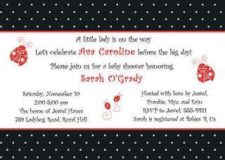 Personalized Baby Girl Shower Invitation ~ Little Ladybug Lady Bug