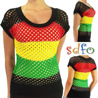 Lady Knit Top   Reggae Party Fishnet Empress Jamaica Shirt   HRA7455