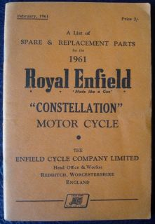 ROYAL ENFIELD CONSTELLATION   MOTORCYCLE SPARES LIST   1961 #775/2M