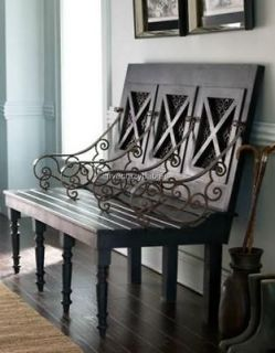 HORCHOW Wood THREE SEAT BENCH Brown Ornate Scroll Indoor Outdoor Patio