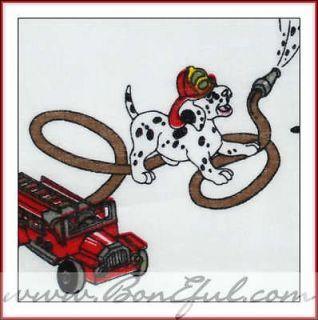 BOOAK Fabric VTG Quilt OOP Antique Fire Truck HERO Dalmatian Dog