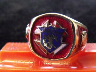 ESTATE ANTIQUE KNIGHTS OF COLUMBUS MASONIC RING 10K YELLOW GOLD BLUE