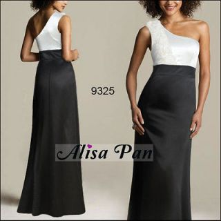 Formal Black Cream Single Shoulder Sexy Maxi Prom Gown Dresses 09325