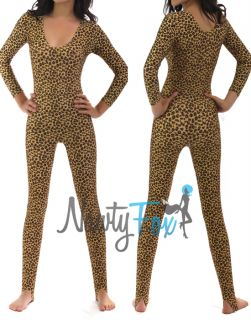 Leopard Animal Cheetah Cat Shiny Spandex Stirrup Unitard,Bodysu​it