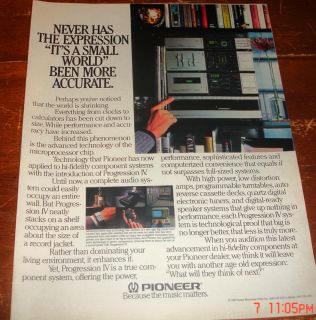 1983 Ad Pioneer Stereo Console Music Matters Expression