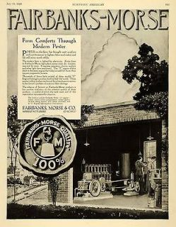 1920 Ad Fairbanks Mors​e Farming Farm Power Light Plant Water Pump