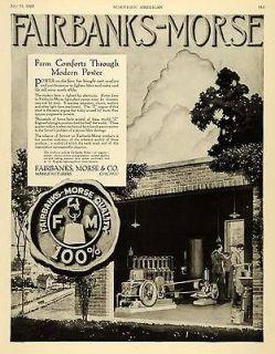 1920 Ad Fairbanks Morse Farming Farm Power Light Plant Water Pump