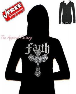 NEW Rhinestone FAITH CROSS Black Junior Thermal Hoodie S XL tank top t