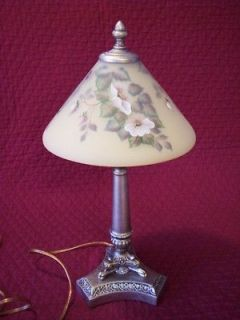 Reverse Paint 18 Lamp White Wild Rose Hand Painted Signed A Farley