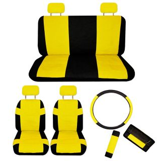FAUX PU LEATHER Truck CAR SEAT COVERS 11 PCS Superior Yellow Black