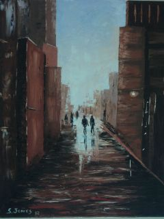 JONES FINE ART original oil painting city street Paris cityscape