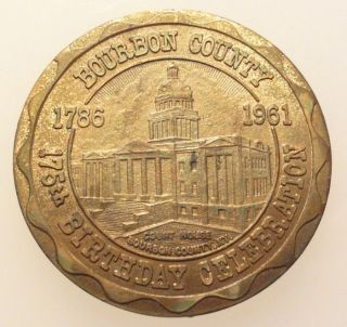 Bourbon County Kentucky 1961 Medal 175th Birthday GF 50c 35mm (3m717)