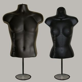 Torso Male + Female (Waist Long) W/ Base Mannequin Forms Set   S M