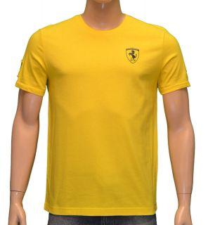 Puma Mens FERRARI Official Licensed Logo Short Sleeve Shirt Yellow