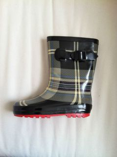 Henry Ferrera Black Beige Grey Plaid Kids Boys Girls Rubber Rain Boot