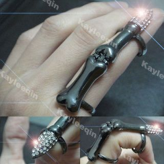Black Full Finger Skull Joint Ring False Nail Crystal Goth Punk Emo