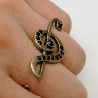 Double Two Finger treble clef Ring Antique Silver color