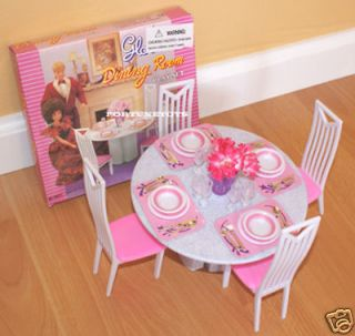 GLORIA DOLL HOUSE FURNITURE SIZE 4 CHAIRS DINING ROOM PLAY SET FOR