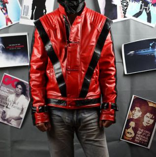 Michael Jackson Red Thriller Leather jacket Free Billie Jean Glove