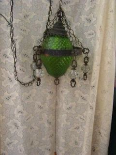 Mod Green Glass Spanish Gothic Iron Metal Swag Hanging Light 5 Hanging