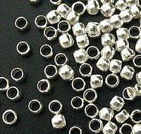 100pc Silver Finish Crimp Round Stopper Metal Bead 2mm 5865