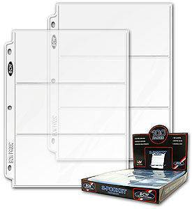 10 BCW 3 Pocket Currency Album Pages dollar bill coupon binder sheets