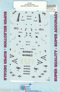 72 SuperScale Decals Marine AV 8B Harrier II VMA 223 VMA 311 & VMA