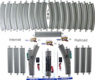 HO SCALE MODEL RAILROAD TRAINS LAYOUT BACHMANN SILVER EZ TRACK SUPER