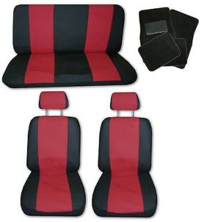 Red Black Synthetic Leather Car Seat Covers w/ Black Floor Mats #H