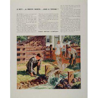1944 Ad Henry Ford Motor Company Boy Water Wheel Dam
