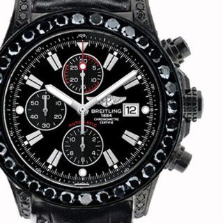 35 ct Black diamond Breitling Super Avenger Watch Black Dial Markers