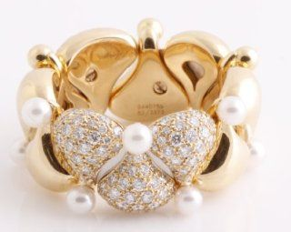 CHOPARD 18K Yellow Gold, White Diamond, and White Pearl PUSHKIN Ring